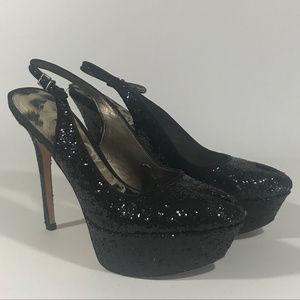 Sam Edelman Platform Slingback Glitter Peep-Toe